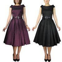 Mad Men Style Rolled Collar Satin 50's Dress | Rockabilly | Pin Up