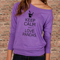 Keep Calm and Love PANDAS Carry on Parody Womens Long sleeve Pullover shirt silkscreen
