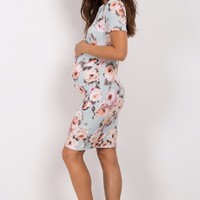 Light-Blue-Rose-Floral-Fitted-Maternity-Dress