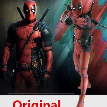Deadpool Dead pool Taco  Costume Adult Man Spandex Lycra Zentai Bodysuit Halloween Cosplay Suit Belt Headwear Mask Sword holster AT_70_6
