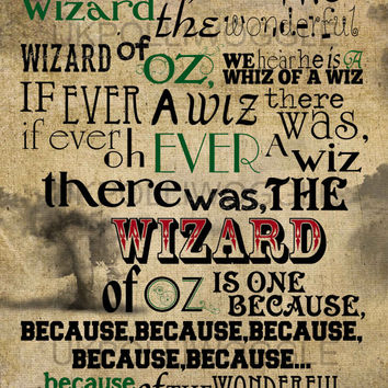 Were Off To See The Wizard, Wizard Of Oz Print, Somewhere Over The Rainbow, in A2, A3 or A4 format