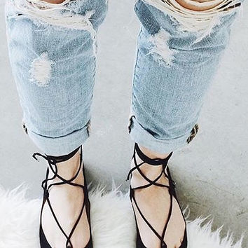 Bonnie Pointed Toe Lace Up Flats