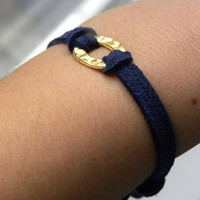 Navy Suede Gold Oval Bracelet by RomeDesigns on Etsy