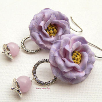 Flower earrings - Lilac earrings - Romantic earrings - Lisianthus - Handmade spring earrings