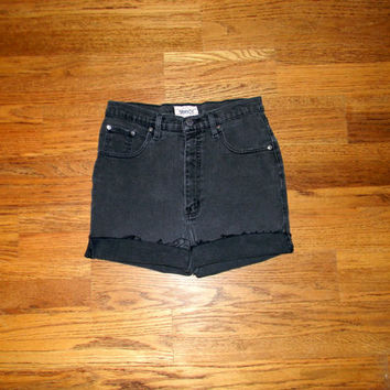 Vintage Denim Cut Offs - 90s Faded Black/Gunmetal Gray Jean Stretch Shorts - High Waisted Cut Off/Frayed/Rolled Up Designer Shorts 5/6 7/8