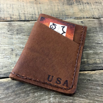 Front Pocket Wallet, Personalized Wallet, Minimalist Wallet, Gift for him, Groomsmen Gift, Mens Wallet, Leather Wallet, NiceLeather, NL111