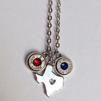 Bullet jewelry. Texas necklace with bullet casings