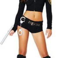 Sexy Cop Police Officer Babe Sheriff Hottie Halloween Costume Outfit Adult Women