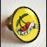Cherry Love Vintage Tattoo Ring. Adjustable ring. Original Artwork