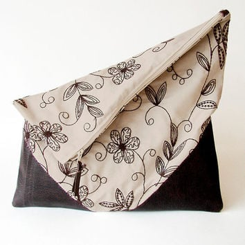 Large Foldover Clutch Bagsnatural colored canvas by Stoic on Etsy