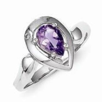 Sterling Silver Diamond accent Pear Shaped Amethyst Ring