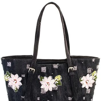 Black Denim with Pink Floral Tote