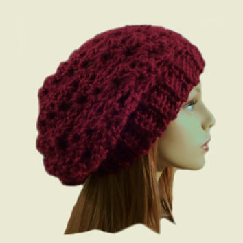 Hat Beany Slouchy Hat Crochet Knit Burgandy Wine Beanie Slouch Women Teen Burgandy