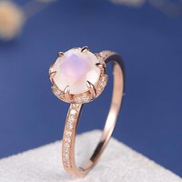 Moonstone Engagement Ring Unique Flower Diamond Floral Rose Gold Half Eternity Antique Art Deco Bridal Wedding Anniversary Retro Promise