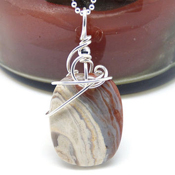 Honey Agate Necklace, Wire Wrapped Stone Pendant, Natural Agate Jewelry, Natural Stone Necklace, Sterling Silver Polished Rock Pendant