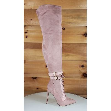 So Me Ashanti Blush Pink Pointy Toe High Heel OTK Above Knee Boots