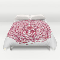 Red Flower Duvet Cover by Laura Maxwell