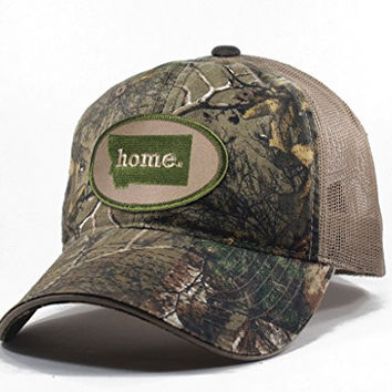 Homeland Tees Men's Montana Home State Realtree Camo Trucker Hat - Army Green