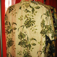 Amazing Vintage Hawaiian Shirt TOMMY BAHAMA  Green  Leaves RELAX 100% Silk Size L  Very Collectible