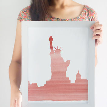 Watercolor Statue of Liberty Printable // Printable Wall Art // New York Wall Art // Printable Decor
