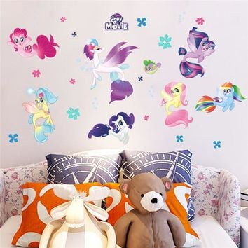 Cartoon DIY unicorn height measure wall Stickers For Kids Rooms Wall Decal Children Nursery refrigerator Room Decor