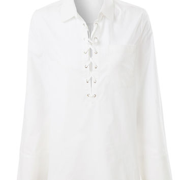 LE3NO Womens Oxford Oversized Long Sleeve Lace Up Front Shirt (CLEARANCE)