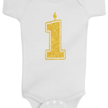Baby Girl 1st Birthday Bodysuits - 1 Gold Glitter Flake Outfits