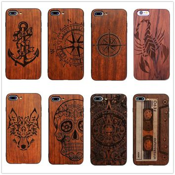 26Style Compass Pirate Anchor Original Bamboo Wood Phone Case For Iphone 7 8 X 7Plus 5 5S SE 6 6S Plus Cartoon Cover Skull