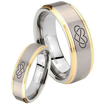 His Hers Step Edge Infinity Love 14K Gold 2 Tone Tungsten Wedding Rings Set