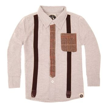 Tweed Tie and Suspenders Button Down Baby Shirt by: Mini Shatsu