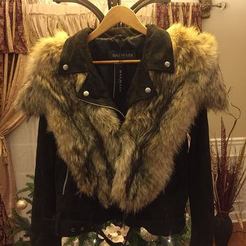 ccb48b5bec Balmain Jacket 'Size XL' (Suede With Fox Fur Around Collar!! Mus
