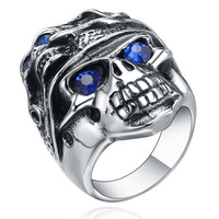 Stainless Steel Gothic Blue Crystal Eye Skull Ring