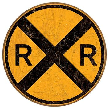 Vintage Style Railroad Crossing 12`` Round Metal Sign