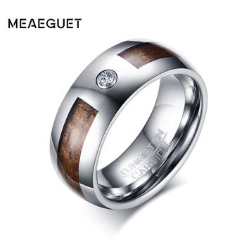 Meaeguet Cubic Zirconia Tungsten Carbide Engagement Ring Men's Wood Jewelry Wedding Bands 8MM