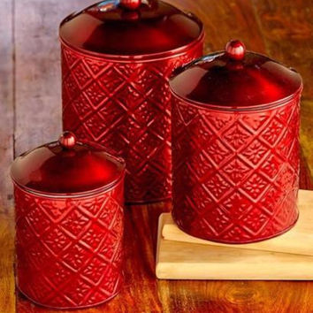 Canister Set Embossed Metal Fresh Seal Red 3 Piece Coffee Tea Sugar Flour NEW