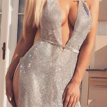 Hollywood Hottie Rhinestone Metal Chain Sleeveless Backless Halter V-Neck Mini Dress - 2 Colors Available