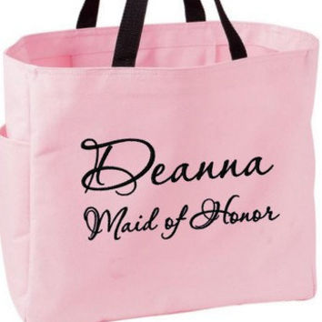 Maid of Honor Matron of Honor Tote Bag by TinasEmbroidery on Etsy