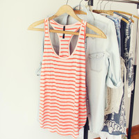 Basic Stripe Tank in Coral