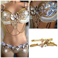Little Gold Necklace Rhinestone Gem Rave Bra & Bottom, Outfit For EDC, Electric Daisy Carnival, Ultra, EDM Festivals, Tomorrowland