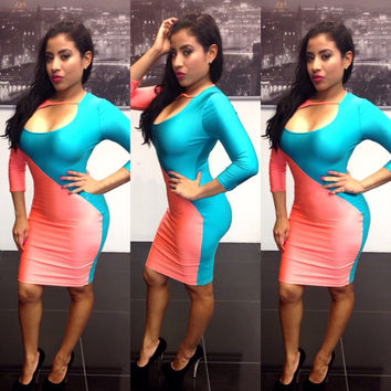 Pink and Blue Cut-Out Long Sleeve Bodycon Dress