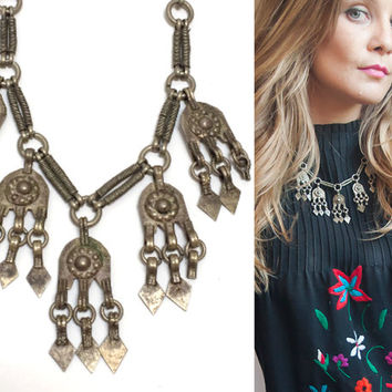 Boho Kuchi Gypsy Necklace Beaded Tribal Antique Tassel Necklace Vintage Middle Eastern Bellydancer Coin Pendant 70s Bohemian Hippie Jewelry