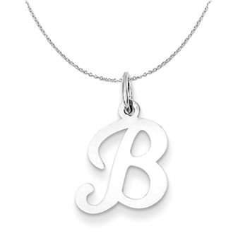 Sterling Silver, Sophia Collection, Small Script Initial B Necklace