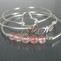Silver Love bangle bracelet set - Silver Pink - Pink Quartz - Pink gemstone - Heart Jewelry - Love Jewelry - Gift for her - Stacking Bangles