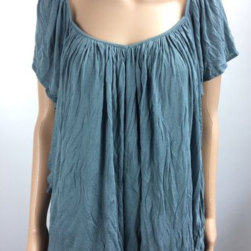 Free People Always & Forever V-Neck Shirt/Blouse in Gray Size Medium NWT - G525