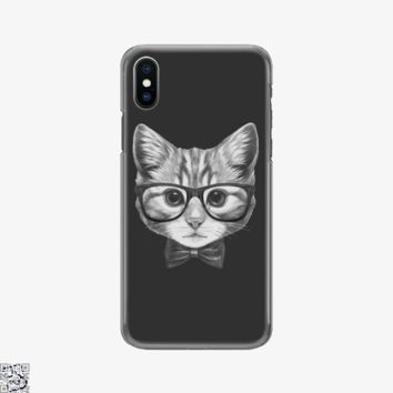 Cat With Glasses And Bow Tie, Cat Phone Case