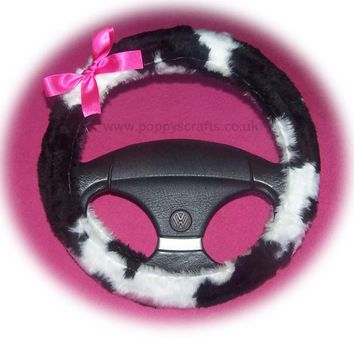 Black and white Cow print faux fur fuzzy car steering wheel cover with barbie pink satin bow