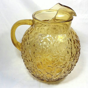 Vintage Anchor Hocking Lido Milano Amber Glass Pitcher/Bubble Glass Retro Pitcher/Mid Century Cocktail Lemonade Iced Tea Water Pitcher