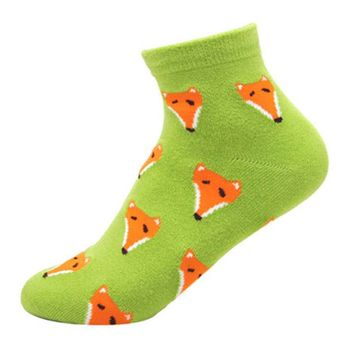 Unique Fox Animal Graphic Print Cotton Ankle Socks for Women | DOTOLY