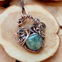 Botanical wire wrapped copper necklace green prehnite Unique gift idea for woman, mom, sister, Wire wrap gemstone Flowers copper pendant.