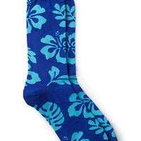 Tropical Cotton-Blend Socks Royal/Aqua One